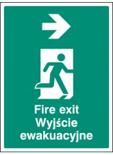 Fire Exit Arrow - Right (English/polish)