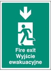 Fire Exit Arrow - Down (English/polish)