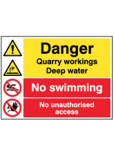 Danger Quarry workings, deep water, no swimming, keep out