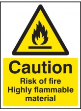 Caution Risk of Fire - Highly Flammable Material