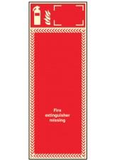 Extinguisher Missing Board - 3mm Photoluminescent PVC - 300 x 800mm