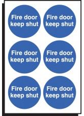 6 x Fire Door Keep Shut Labels - 65mm Diameter