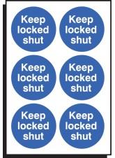 6 x Keep Locked Shut Labels - 65mm Diameter