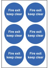 6 x Fire Exit Keep Clear Labels - 65mm Diameter