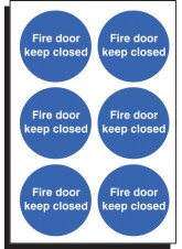 6 x Fire Door Keep Closed Labels - 65mm Diameter