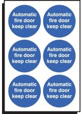 6 x Auto Fire Door Keep Clear Labels - 65mm Diameter