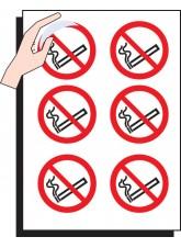 6 x No Smoking Labels - 75mm Diameter