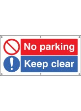 No Parking Keep Clear - Banner with Eyelets