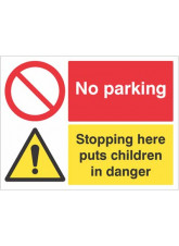 No parking Stopping here puts children in danger