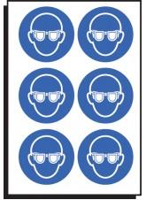 6 x Eye Protection Symbol - 50mm Diameter