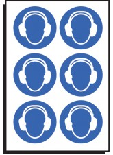 6 x Ear Protection Symbol - 50mm Diameter