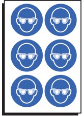 6 x Eye Protection Symbol - 100mm Diameter