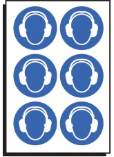 6 x Ear Protection Symbol - 100mm Diameter