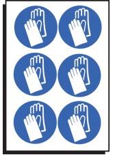 6 x Hand Protection Symbol - 100mm Diameter