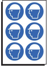 6 x Safety Helmet Symbol - 100mm Diameter