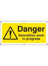 Danger Demolition Work in Progress - Banner with Eyelets