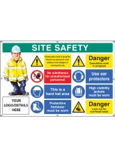 Site Safety, Multi-message, Demolition Work, Custom - Banner with Eyelets - 1270 x 810mm