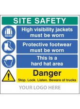 Site Safety Board, Hivis, Footwear, hard Hat, Trucks - Site Saver Sign 1220 x 1220mm