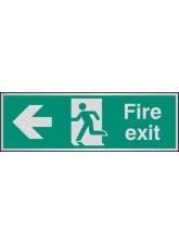 Fire Exit Arrow Left - Aluminium - 300 x 100mm