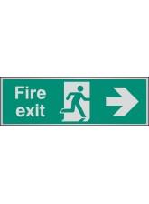 Fire Exit Arrow Right - Aluminium - 300 x 100mm