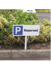 Parking Reserved - White Powder Coaded Aluminium 450 x 150mm (800mm Post)