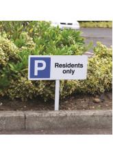 Parking Residents Only - White Powder Coated Aluminium - 450 x 150mm (800mm Post)
