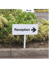 Reception Right - White Powder Coaded Aluminium 450 x 150mm (800mm Post)