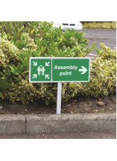 Assembly Point Right - White Powder Coaded Aluminium 450 x 150mm (800mm Post)