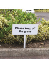 Please Keep Off the Grass - White Powder Coaded Aluminium 450 x 150mm (800mm Post)