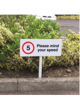 5mph Please Mind Your Speed - White Powder Coated Aluminium - 450 x 150mm (800mm Post)