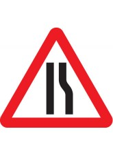 Fold Up Sign - Road Narrows Right with Text Variant - 750mm Triangle