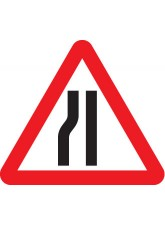 Fold Up Sign - Road Narrows Left with Text Variant - 750mm Triangle
