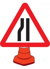 Road Narrowing Left - Cone Sign - 750mm