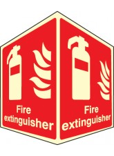 Fire Extinguisher - Photoluminescent Projecting Sign