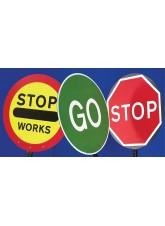 Stop/Go Lollipop Sign 600mm Dia, 1500mm Pole