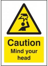 A5 Caution Mind Your Head - Rigid Plastic - 148 x 210mm