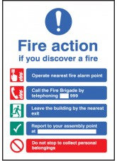A5 Fire Action - Rigid Plastic - 148 x 210mm