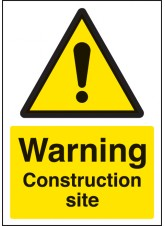 A4 Warning Construction Site - Self Adhesive Vinyl - 210 x 297mm