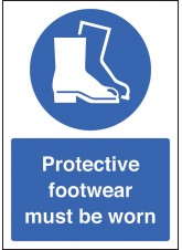 A4 Protective Footwear Must Be Worn - Rigid Plastic - 210 x 297mm