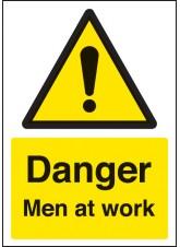 A4 Danger Men At Work - Rigid Plastic - 210 x 297mm