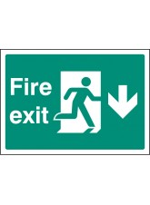 A4 Fire Exit Down - Self Adhesive Vinyl - 210 x 297mm