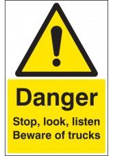 Danger Stop, Look, Listen Beware of Trucks - Floor Graphic