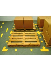 Yellow Floor Signal Markers Feet - 300 x 100mm (5 Right, 5 Left) (Pack of 10)