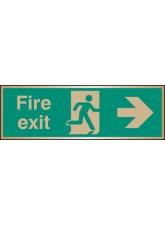Fire Exit Arrow Right - Brass