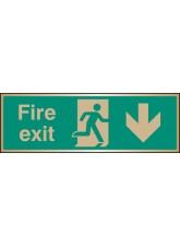 Fire Exit Arrow Down - Brass