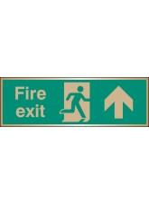 Fire Exit Arrow Ahead - Brass