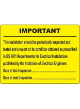 Periodic Inspection Labels - 100 x 75mm