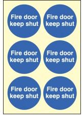 6 x Fire Door Keep Shut Photoluminescent Labels - 65mm Diameter
