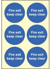 6 x Fire Exit Keep Clear Photoluminescent Labels - 65mm Diameter