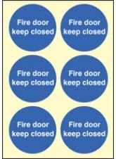 6 x Fire Door Keep Closed Photoluminescent Labels - 65mm Diameter